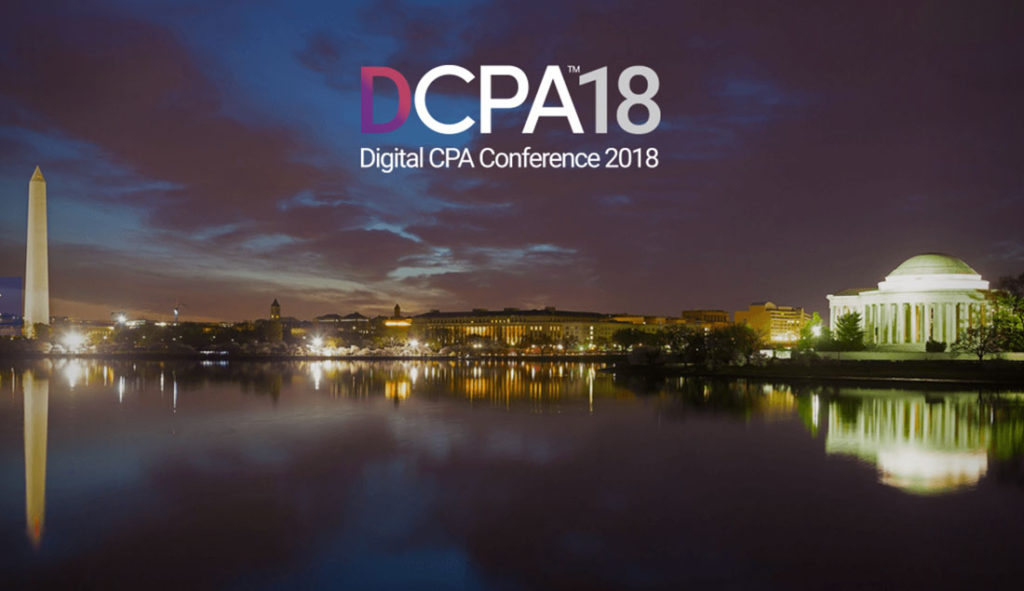 DCPA18 Digital CPA Conference 2018 with Washington Skyline at Sunset