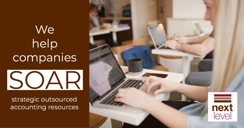 We Help Companies SOAR - Strategic Outsourced Accounting Resources with Woman Typing on Laptop with Coffee in Background