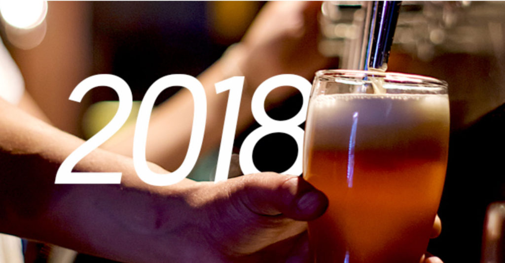 2018 with Hand Filling Beer Glass